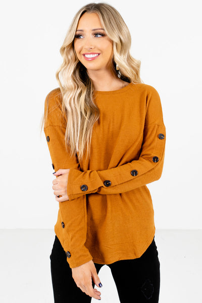 Orange Button Accented Boutique Tops for Women