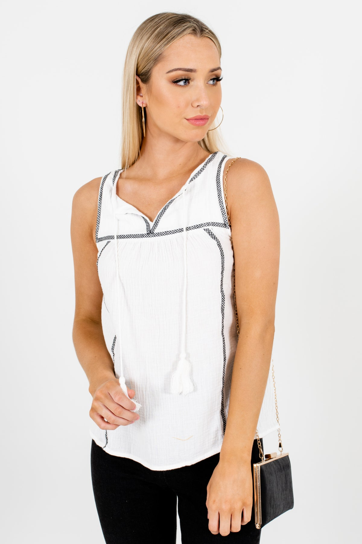 White Black Stitched Cotton Tank Tops Affordable Online Boutique