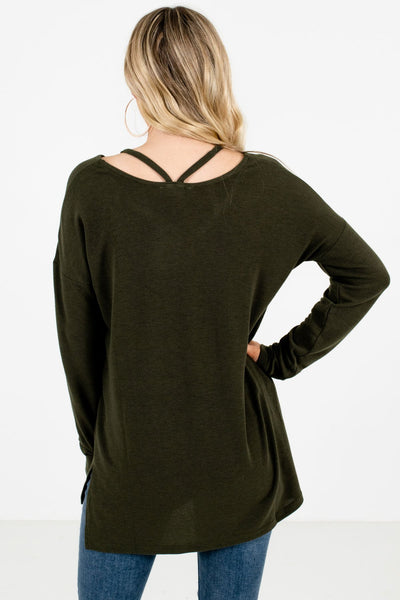 Women's Olive Green Cutout Detailed Boutique Top