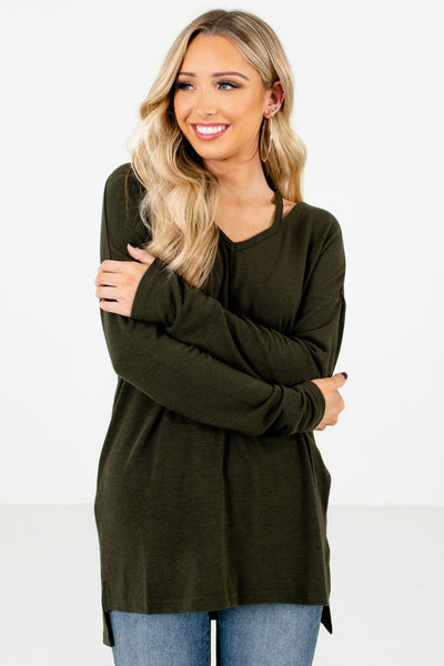 Women's Olive Green Long Sleeve Boutique Tops
