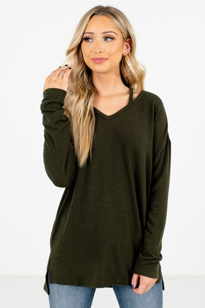 Women's Olive Green Cozy and Warm Boutique Tops