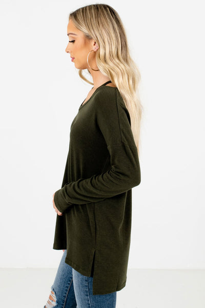 Olive Green Split High-Low Hem Boutique Tops for Women