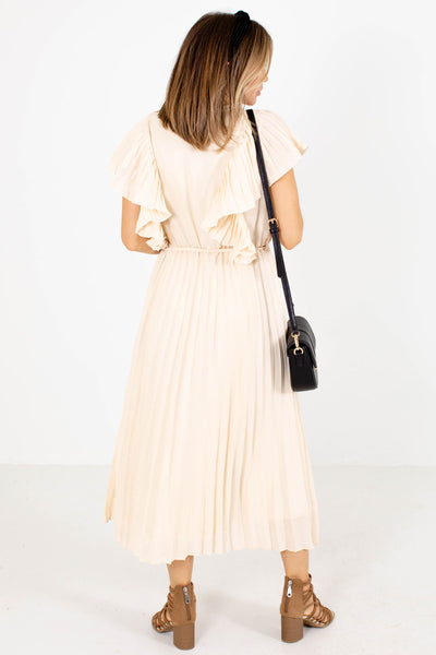 Women's Cream Flutter Sleeve Boutique Midi Dress