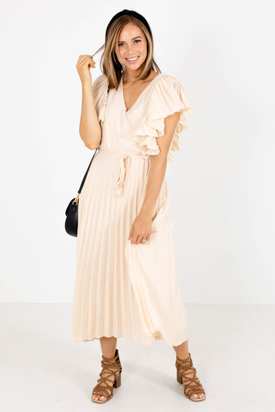 Cream Pleated Material Boutique Midi Dresses for Women