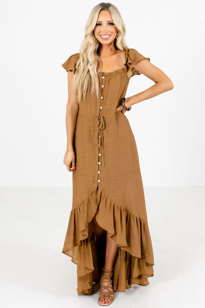 Brown Button-Up Front Boutique Maxi Dresses for Women