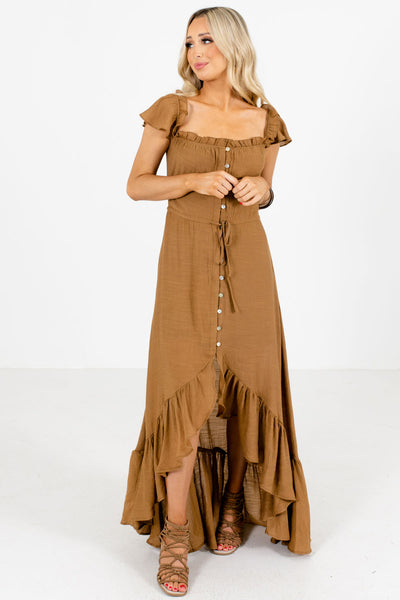 Women's Brown Ruffled Accents Boutique Maxi Dress