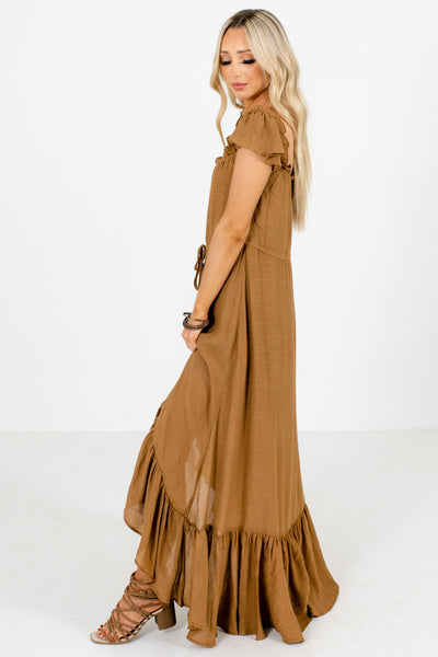 Brown Drawstring Waistband Boutique Maxi Dresses for Women