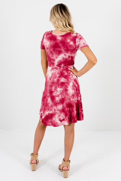 Pink Tie-Dye Women's Boutique Faux Wrap Dress