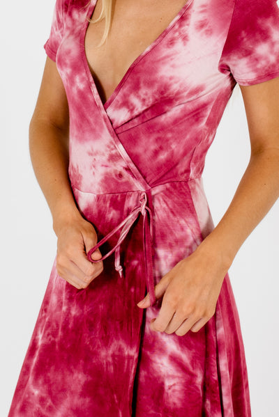Pink Tie-Die Knee-Length Boutique Dresses for Women