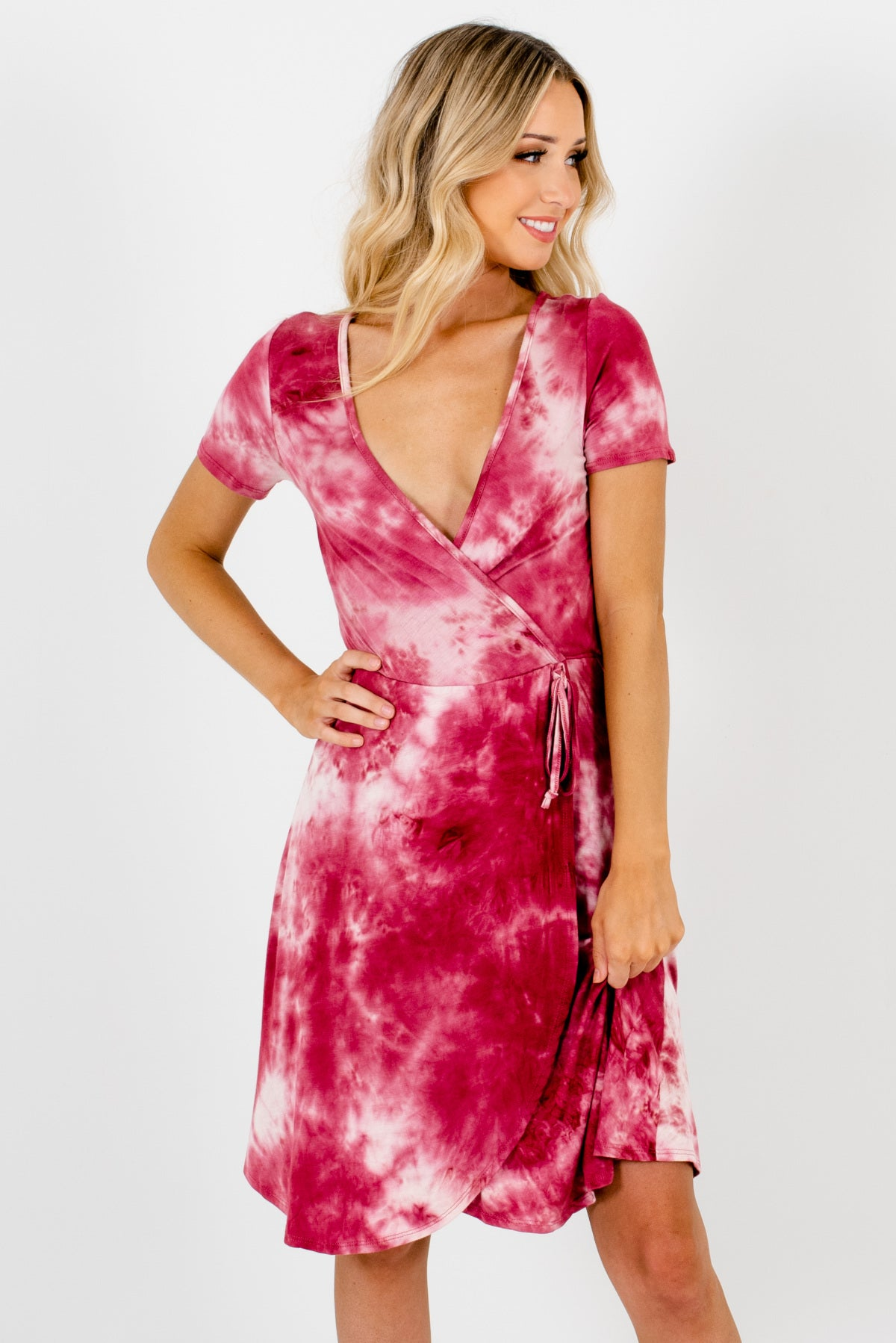 Light and Dark Pink Tie-Dye Boutique Dresses for Women