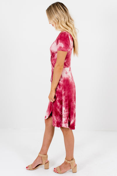 Light and Dark Pink Tie-Dye Soft and Stretchy Boutique Dresses for Women