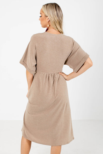 Women's Brown Waist Tie Detailed Boutique Midi Dress