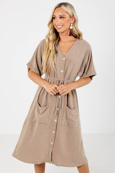 Women's Brown Cuffed Sleeve Boutique Midi Dress