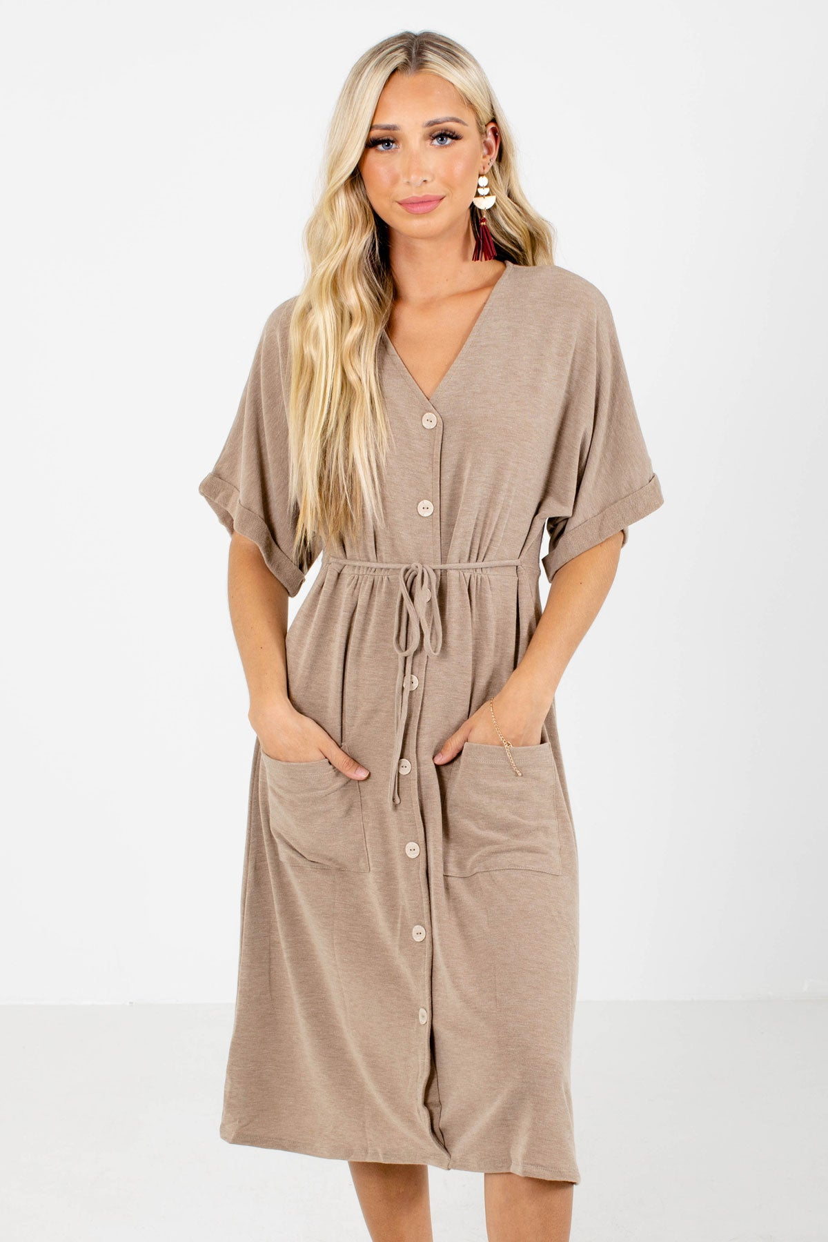 Brown Button-Up Front Boutique Midi Dresses for Women