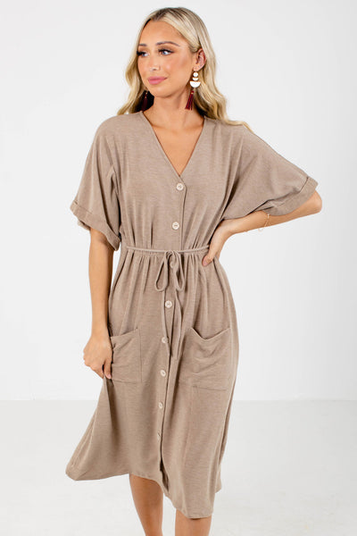 Brown Cute and Comfortable Boutique Midi Dresses for Women