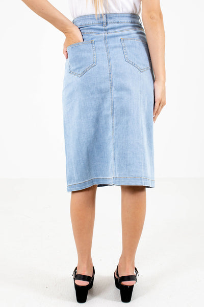 Women's Blue Denim Knee-Length Boutique Skirt with Pockets