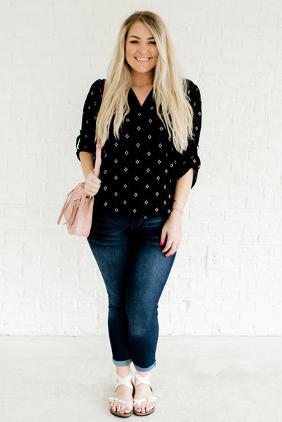 Black and White Women's Flowy Plus Size Boutique Blouse