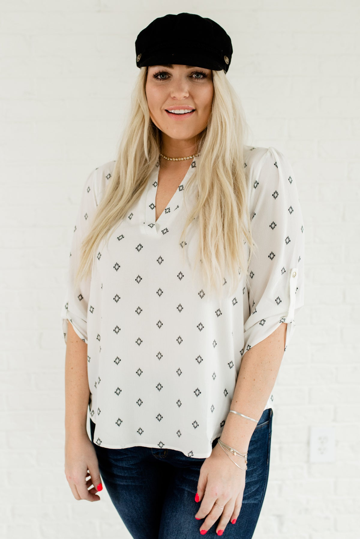White and Black Geometric Patterned Plus Size Boutique Blouse for Women