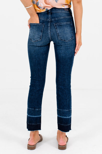 Women's Dark Wash Denim Blue Raw Hem Boutique Jeans
