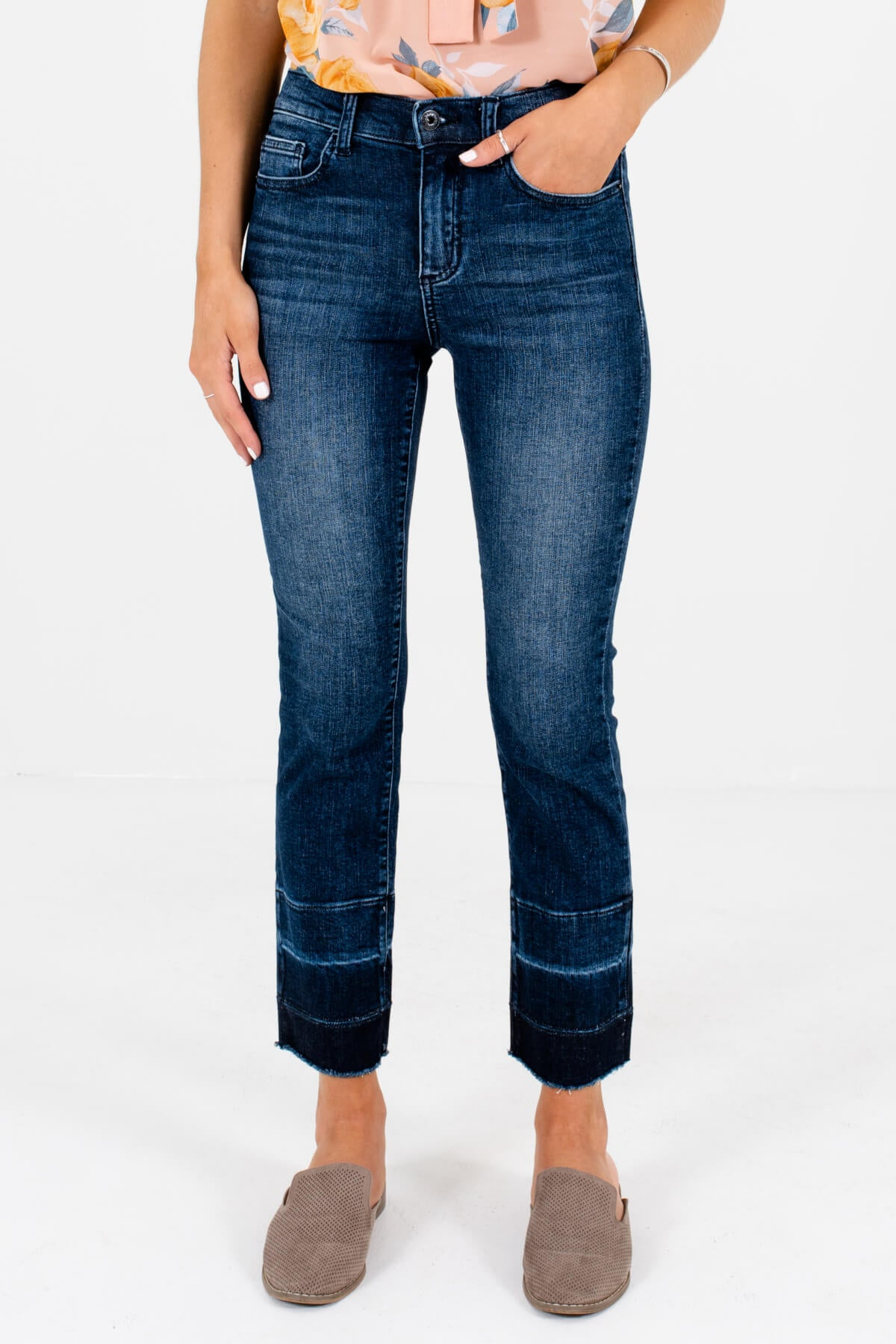 Dark Wash Denim Blue Straight Silhouette Boutique Jeans for Women