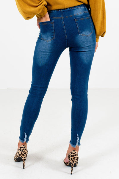 Women's Dark Wash Blue Distressed Detailed Boutique Jeggings