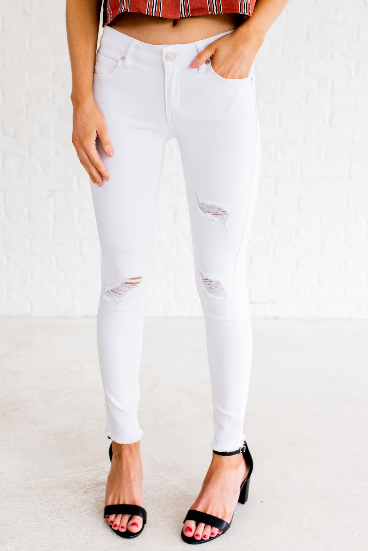 White Distressed Boutique Jeggings for Women