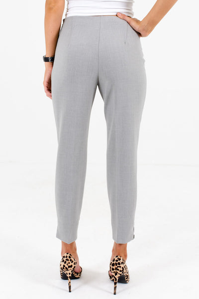 Women's Heather Gray Size Zipper Boutique Pants