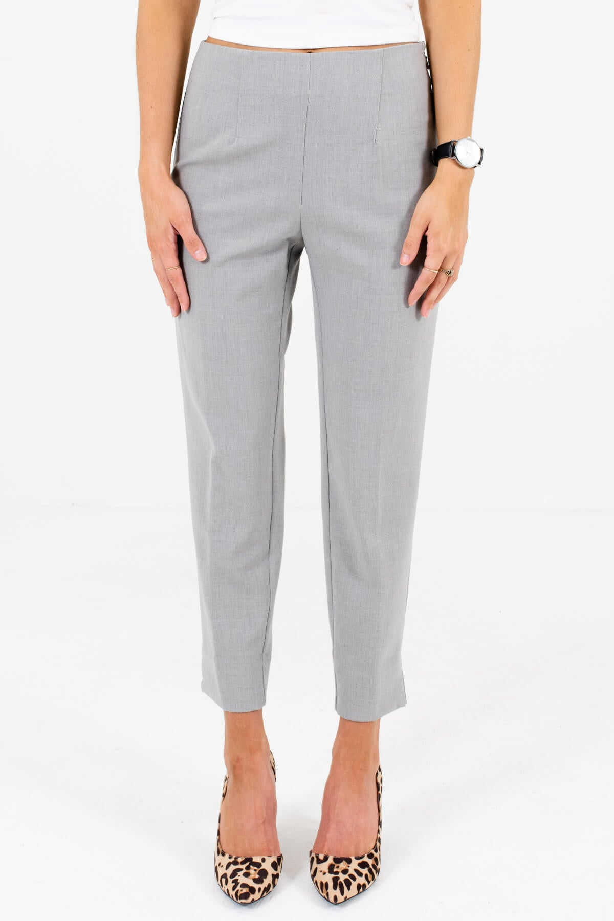 Heather Gray Business Casual Boutique Slack Pants for Women