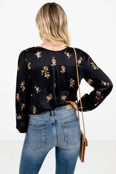 Women's Black Floral Boutique Bodysuits