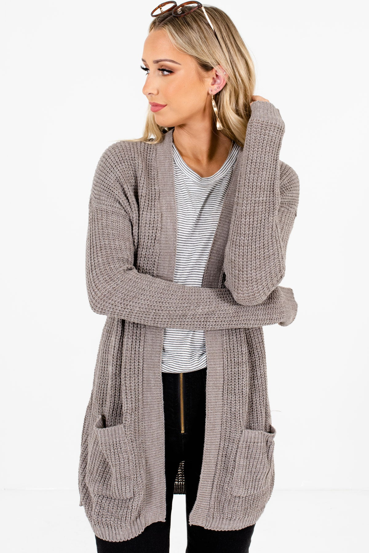 Gray High-Quality Knit Material Boutique Cardigans for Women