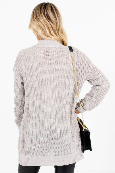 Women's Heather Gray Boutique Cardigans with Pockets