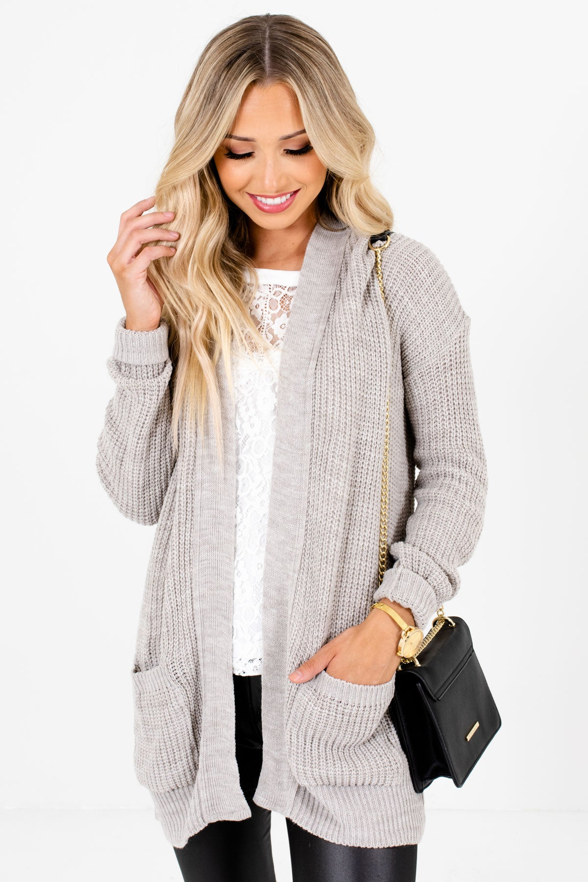Heather Gray High-Quality Knit Material Boutique Cardigans for Women