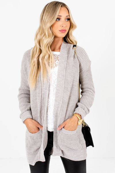 Women's Heather Gray Business Casual Boutique Cardigan