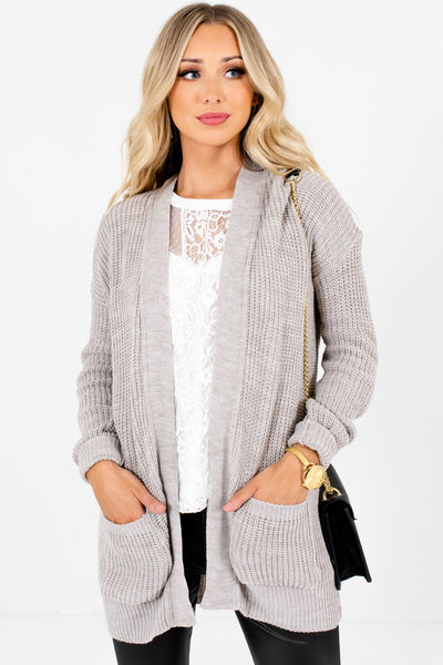 Women's Heather Gray Casual Everyday Boutique Cardigan