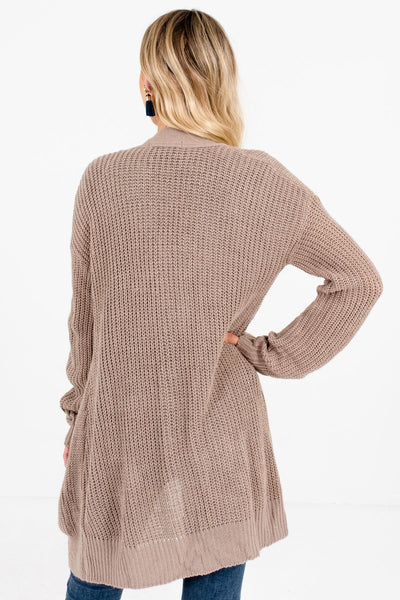 Women's Taupe Brown Boutique Cardigans with Pockets