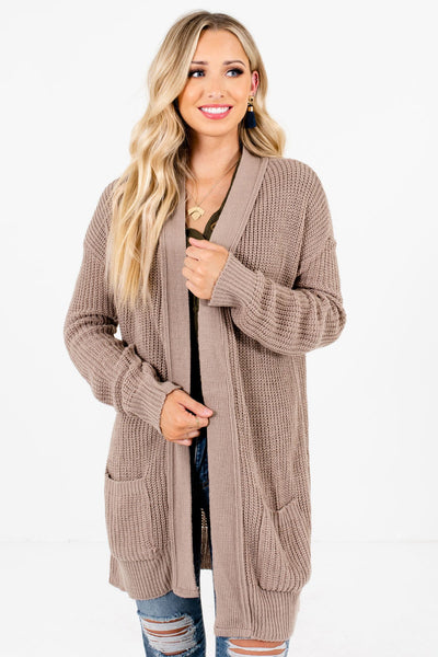 Women's Taupe Brown Casual Everyday Boutique Cardigan