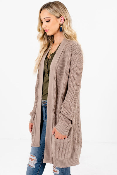 Taupe Brown Layering Boutique Cardigans for Women