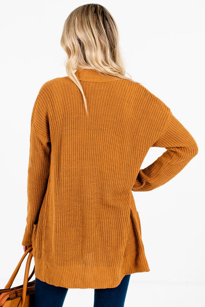 Women's Tawny Orange Boutique Cardigans with Pockets