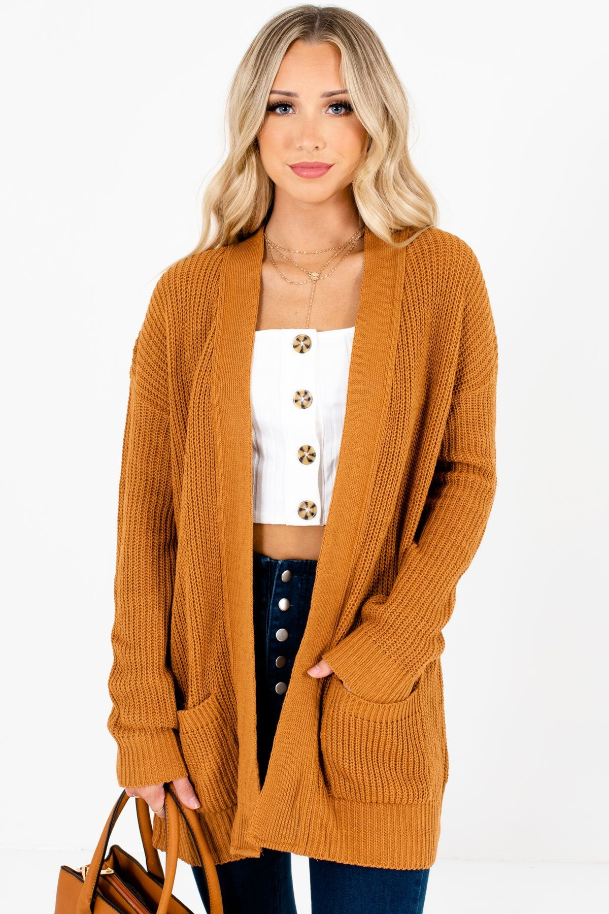 Tawny Orange High-Quality Knit Material Boutique Cardigans for Women