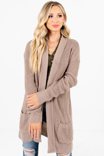 Women's Taupe Brown Business Casual Boutique Cardigan