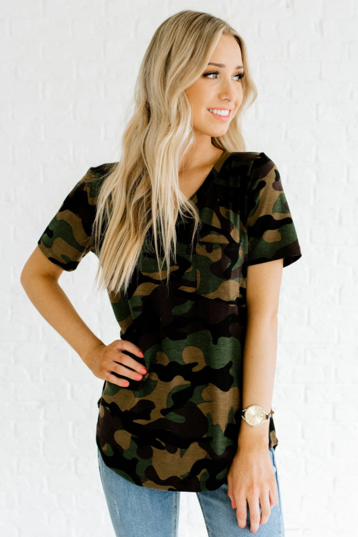 Green Brown Black Camo Print Soft Stretchy Pocket Tees for Women
