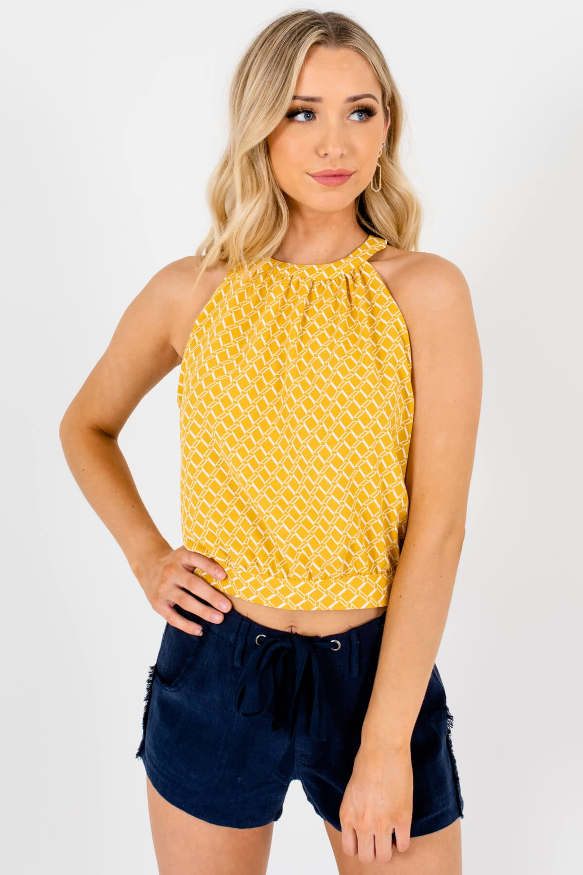 Yellow and White Geometric Patterned Boutique Tank Tops for Women
