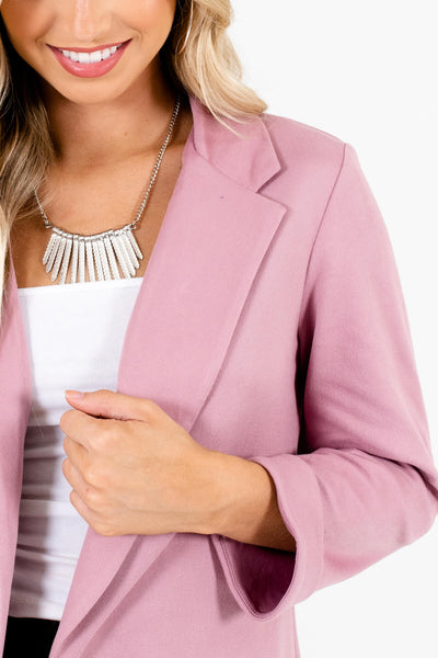 Mauve Pink Cute Soft Relaxed Comfy Blazers for Women