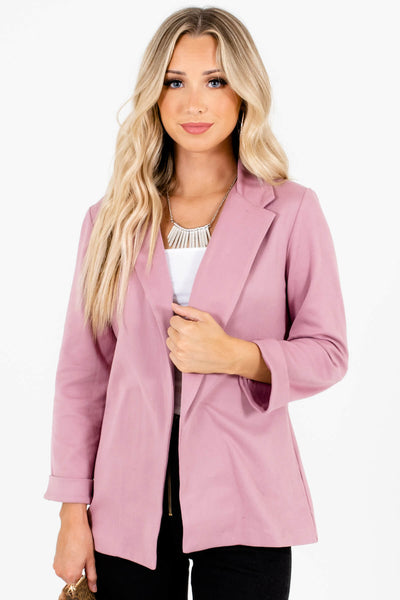 Dusty Rose Pink Soft Relaxed Blazers for Women