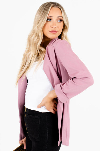 Soft Pink Relaxed Business Casual Blazers for Women