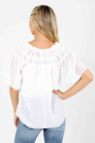 Women's White Lightweight Boutique Blouse