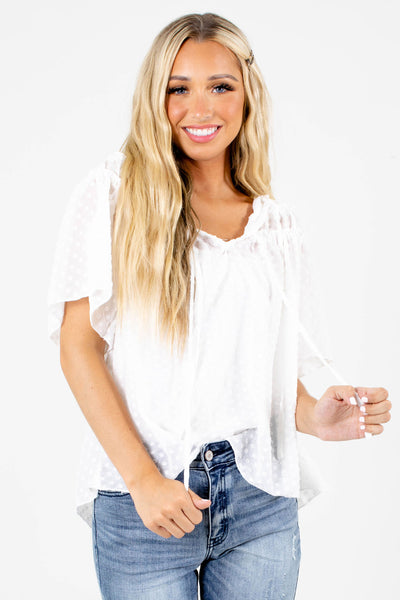 White Self-Tie Accented Boutique Blouses for Women