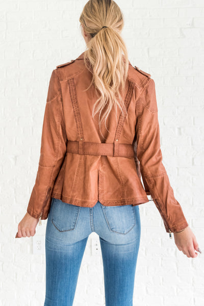 Cognac Brown Women's Stylish Faux Leather Outerwear