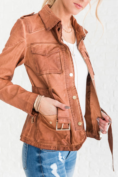 Cognac Brown Women's Jackets with Pockets