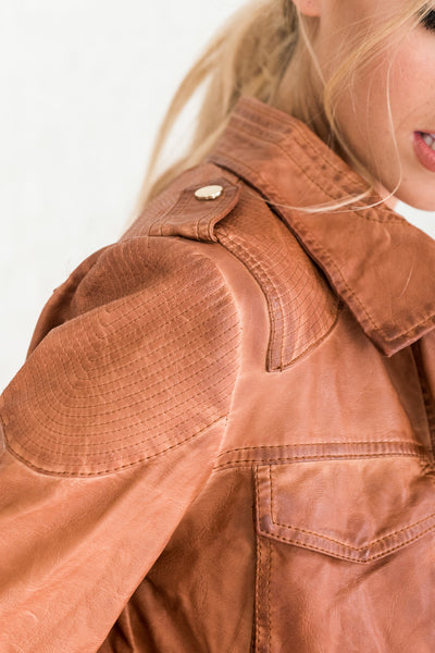 Cognac Brown Button-Up Jackets for Women